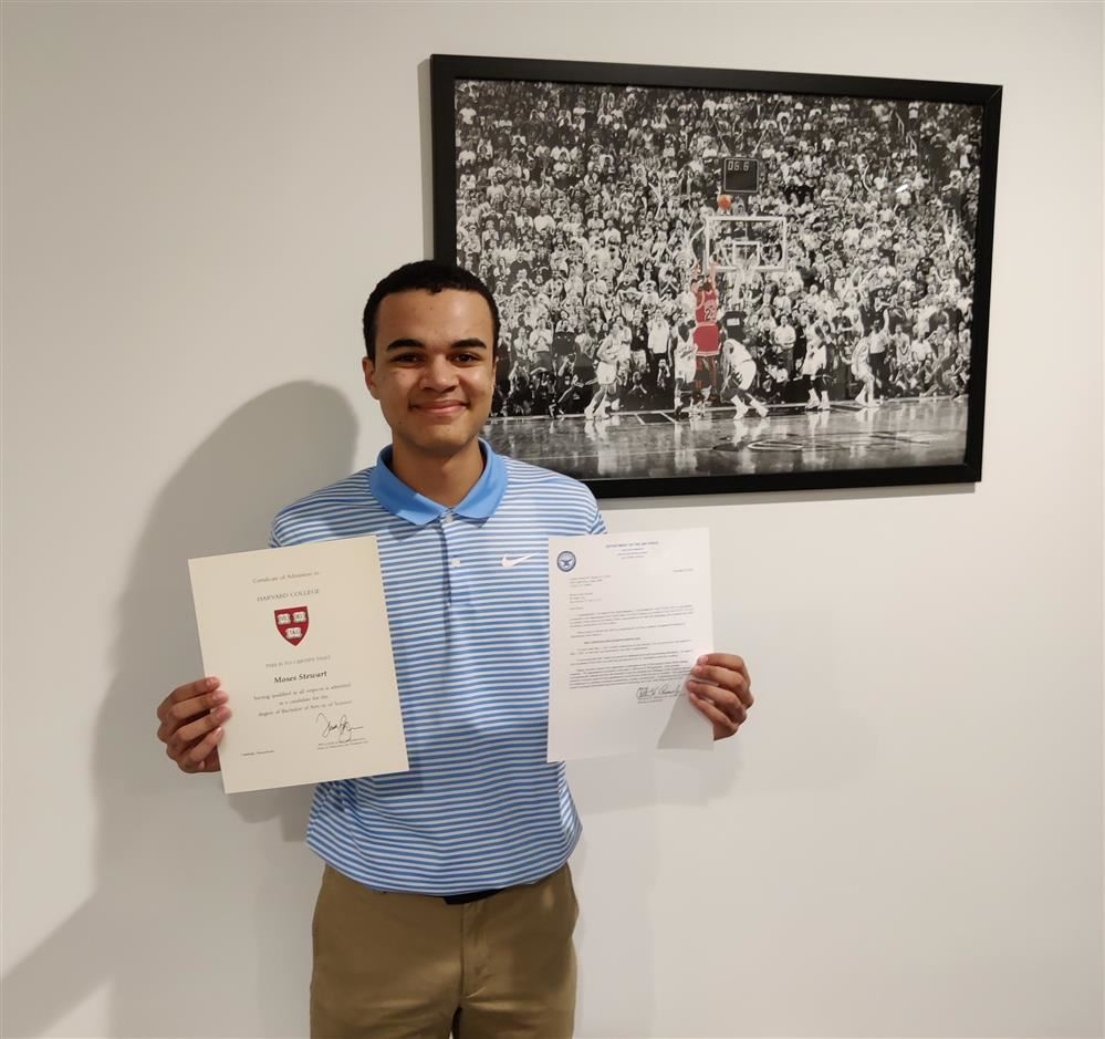 Congratulations to Moses Stewart for his acceptance to Harvard University and the United States Air Force Academy.
